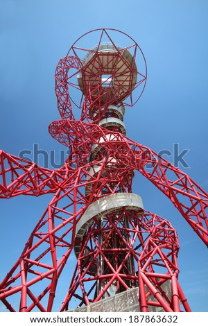 LONDON - APRIL 5. The Arcelor Mittal Orbit from the Olympic Games designed by Anish Kapoor and Cecil Balmond. Queen Elizabeth Olympic Park April 5, 2014, opening day of the new public area, London, UK - stock photo