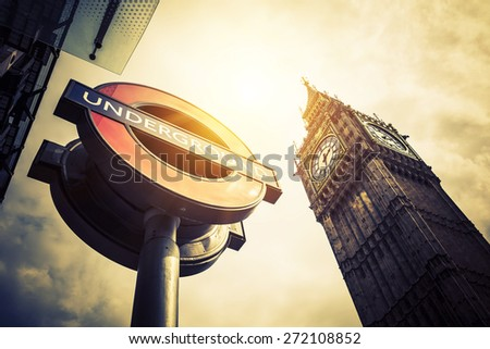 LONDON - APRIL 10: The Big Ben. The London 'Underground' logo will be used for other transportation systems - has been announced by Transport for London (TfL), taken April 10, 2015 in London - stock photo