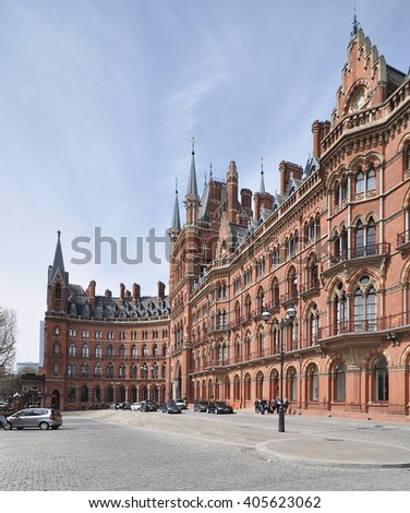 LONDON - APRIL 10. 2016. The restored 1868 St Pancras International railway station and hotel, the redeveloped terminus for Eurostar services to Europe, in London, UK - stock photo