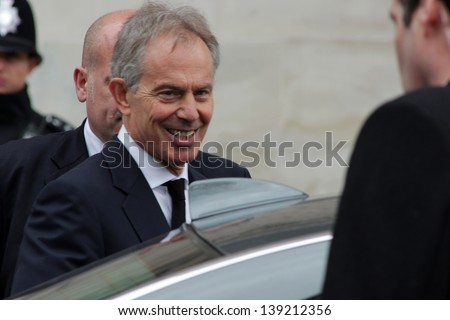 LONDON - APRIL 17: Tony Blair gets into his car afer the funeral service for Margaret Thatcher at St. Paul's Cathedral on April 17, 2013 in London.