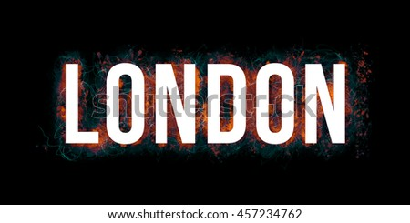 LONDON - artistic headline with colorful paint splatters and big, bold font