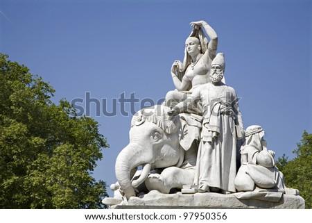 London - Asia sculpture from Prince Albert memorial - Hyde park - stock photo