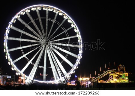 London at night. Winter wonderland in Hyde park. - stock photo