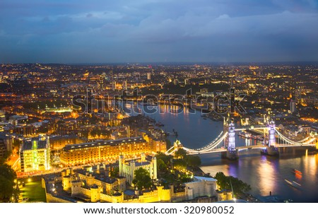 London at sunset, panoramic view with Tower bridge - stock photo