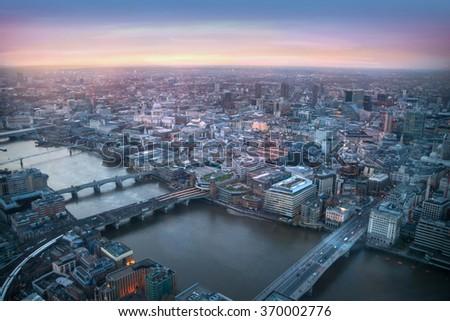 London at sunset, River Thames and bridges  - stock photo