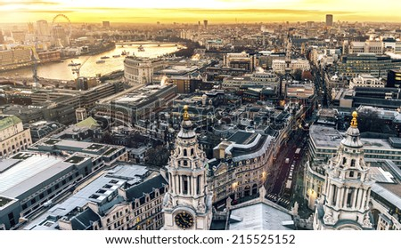 London at sunset view from St. Paul's Cathedral - stock photo