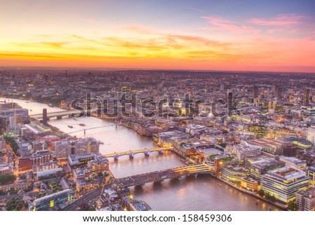London at twilight view - stock photo