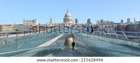 LONDON -  AUG 31, 2014: St. Paul's cathedral from the millenium bridge