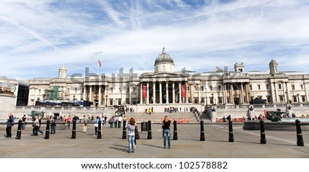 LONDON - AUG 19 :Trafalgar Square, City of Westminster, public space, on Aug 19, 2010 in London, UK. As one of the most popular tourist attraction have more than fifteen million visitors a year.