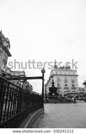 LONDON - AUG 9: View of Piccadilly Circus, road junction, built in 1819, famous tourist attraction, links to West End, Regent Street, Haymarket, Leicester Square, on Aug 9, 2010 in London, UK. - stock photo