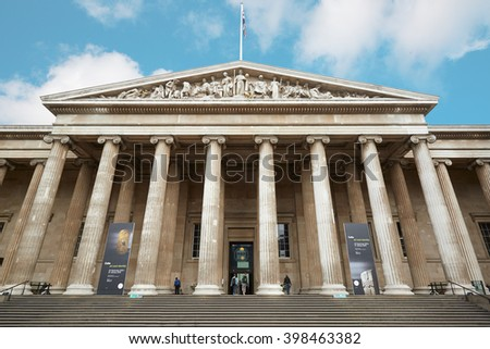 LONDON - AUGUST 5: British Museum building facade with people on August 5, 2015 in London, UK. Museum permanent collection numbers 8 million works and is among the largest and most comprehensive.