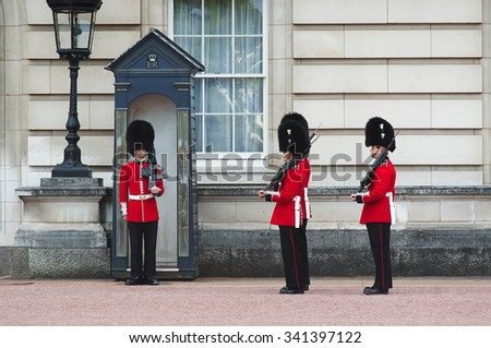 LONDON - AUGUST 8, 2015: Changing of the guard in Buckingham Palace. - stock photo