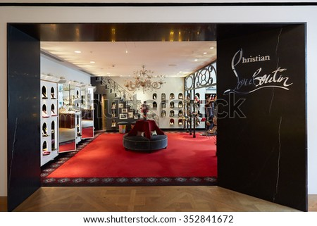 LONDON - August 10, 2015: Selfridges department store interior, Christian Louboutin shop on August 10, 2015. Selfridges is one of the most famous department store in London. - stock photo