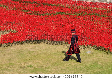 LONDON - AUGUST 7. Some of the 888,246 ceramic poppies on August 7, 2014 commemorate the British and colonial military who died in the 1914-1918 First World War, installed at the Tower of London, UK - stock photo