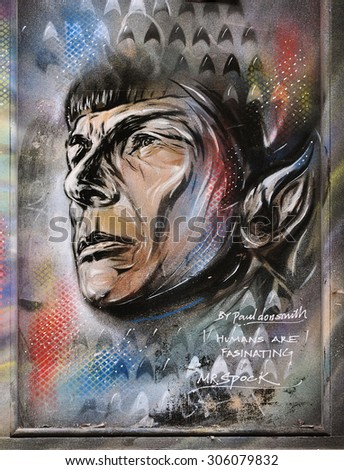 LONDON - August 1, 2015. Street art portrait of Mr Spock at Shoreditch in the Borough of Tower Hamlets, an area renown for its public painting in east London, UK.