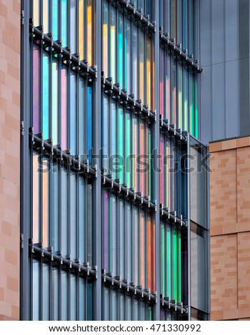 LONDON - AUGUST 16, 2016. The colourful patterned facade of The Francis Crick Institute, a new biomedical research centre designed by HOK with PLP Architecture, opening soon at Kings Cross, London.
