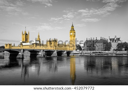 London Big Ben and House of Parliament in London. England - stock photo