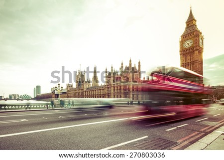 London Big Ben and traffic on Westminster Bridge  - stock photo