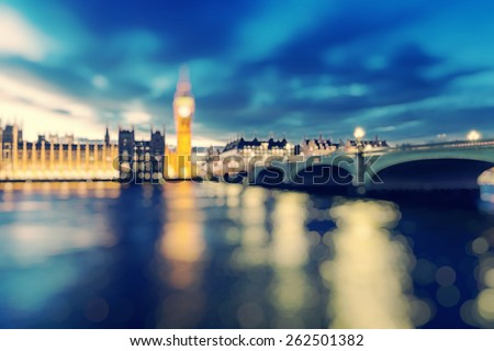 London, blurred background