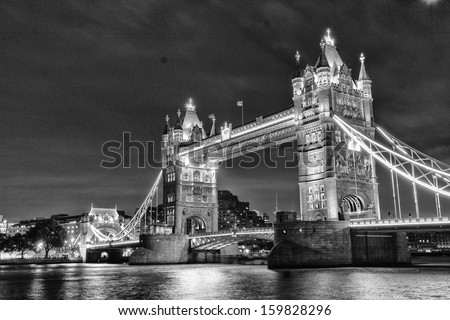 London Bridge by night. - stock photo