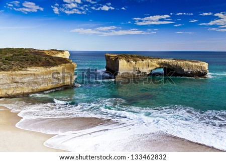 London Bridge in Victoria. Australia's newest island after 1990 collapse joining it to the mainland. - stock photo