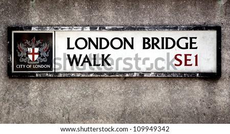 London Bridge street sign, London, UK - stock photo