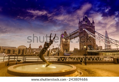London Bridge view from St. Katherins Dock. - stock photo