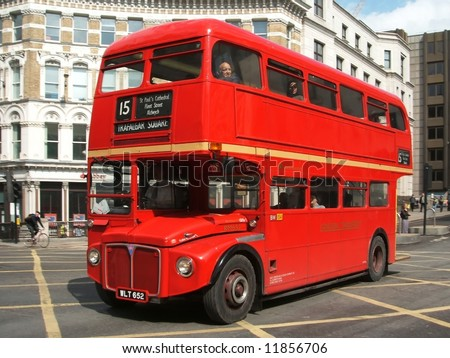 London Bus at Ludgate Circus - stock photo