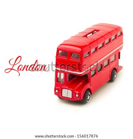 London bus money box toy isolated on white background - stock photo