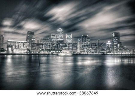 London business district Canary Wharf at night - stock photo