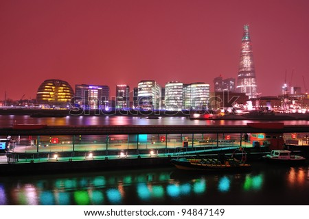 London by night. The shard of Glass and financial district of London - stock photo