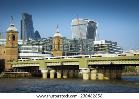 London Cannon Street and Thames - stock photo
