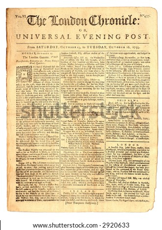 London Chronicle, Oct 16, 1759, Page 1 of 8. - stock photo