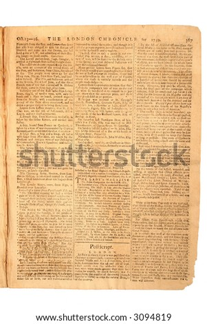 London Chronicle, Oct 16, 1759, Page 6 of 8.  Whole page historic account of the Battle for Canada at Quebec City. - stock photo