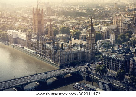 London city aerial view  - stock photo