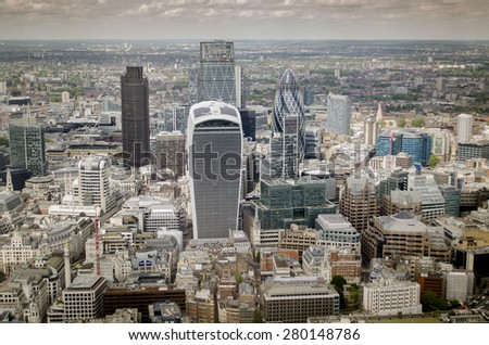 London city financial skyline close to River Thames  - stock photo