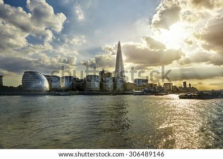 London City Hall at sunset - stock photo