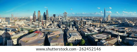 London city rooftop view panorama with urban architectures. - stock photo