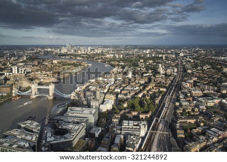 London city skyline view from above on Summer day - stock photo