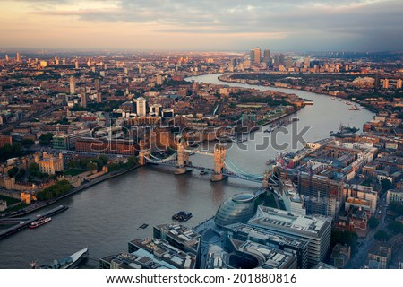 London City Streets and River Thames from above at sun set - stock photo