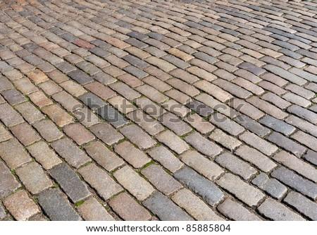 London cobblestone street close up. - stock photo