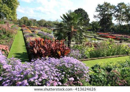London colorful Kensington palace garden - stock photo