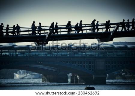 London commuters - stock photo