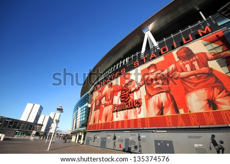 Emirates stadium exterior stock photos royalty free for Emirates stadium mural