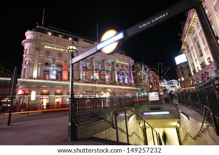 LONDON - DEC 3: View of Piccadilly Circus, road junction, built in 1819, famous tourist attraction, links to West End, Regent Street, Haymarket, Leicester Square, on Dec 3, 2012 in London, UK.   - stock photo