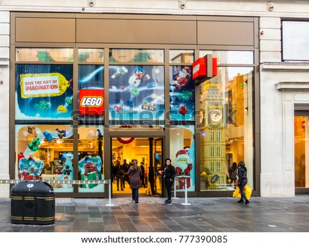 Stock photo london december a front view of the lego store in leicester  square in piccadilly 233135e518