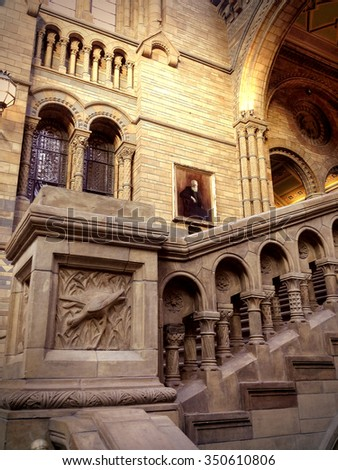 LONDON-DECEMBER 8:Natural History Museum home to about 70 million exhibits organized into five main collections:botany, entomology, mineralogy, paleontology and zoology on december 8, 2015 in London - stock photo