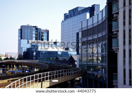 London Docklands financial district; contemporary cool lighting effect - stock photo