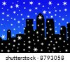 London Docklands Skyline in winter with falling snow JPG - stock vector