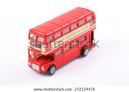 London Double-Decker Bus isolated on white Background - stock photo